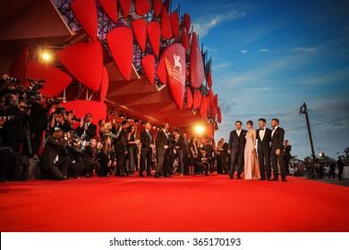 Venice, Italy - 04 September 2015: Johnny Depp, Dakota Johnson, director Scott Cooper and Joel Edgerton attend a premiere for 'Black Mass' during the 72nd Venice Film Festival