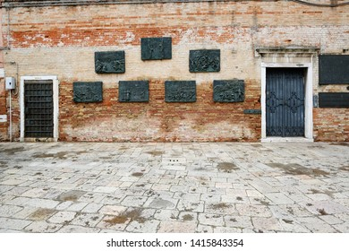 Venice, Italy. 04/29/2019 Holocaust Memorial commemorating Venetian Jews deported by German Nazis during World War II. Campo di Ghetto Nuova