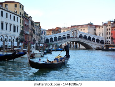VENICE ITALY 05 12 19: Rialto Bridge is the oldest of the four bridges spanning the Grand Canal it has been rebuilt several times since its first construction as a pontoon bridge in the 12th century,