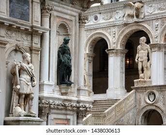 VENICE ITALY 05 12 2019: Architectural details of the Doge's Palace in Venice