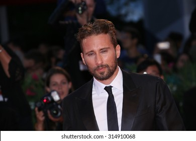 Venice, Italy - 05 September 2015: Actor Matthias Schoenaerts attends the premiere of the movie 'The Dnaish Girl' during the 72nd Venice Film Festival