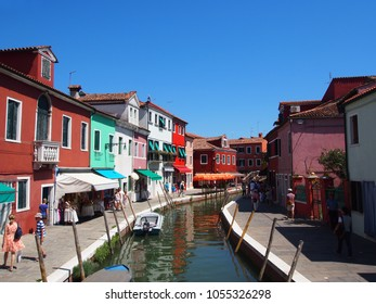 venice / italy - 07 15 2014: Colorful Building View with blue sky in venice,