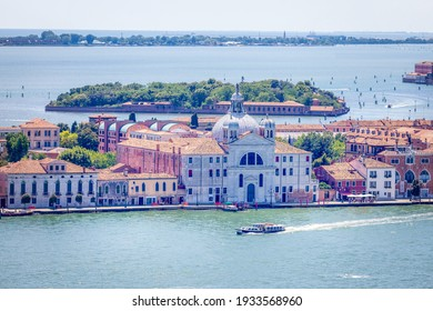 Venice, Italy, 07.04.2019:birds view of Church of the Santissimo Redentore from St Mark's Campanile