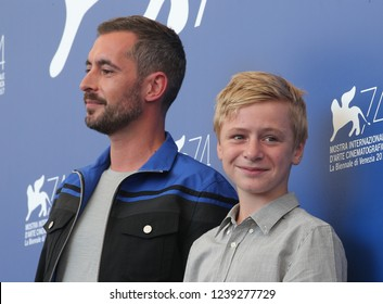 Venice, Italy. 08 September, 2017. Thomas Gioria and Xavier Legrand  and Mathilde Auneveux attends the photocall of the movie 'Jusqu'à la Garde' presented in competition at the 74th Venice Film Festiv