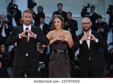 Venice, Italy. 09 September, 2017. Michael Roskam, Matthias Schoenaerts and Adèle Exarchopoulos  walks the red carpet ahead of the 'Racer And The Jailbird (Le Fidele)' screening during the 74th Venice