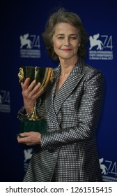 Venice, Italy. 09 September, 2017. Charlotte Rampling poses with the Coppa Volpi for Best Actress Award for 'Hannah' at the Award Winners photocall during the 74th Venice Film Festival