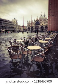 Venice, Italy - 1 November 2018: San Marco square under water, city has been flooded by waters rising 156 cm