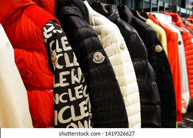 VENICE, ITALY -10 APR 2019- View of winter clothes in a Moncler store. Monclerc is a fashion brand known for its fashionable down jackets.