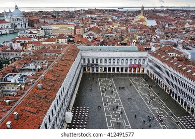 VENICE, ITALY -10 MARCH 2016- Panoramic view of Venice from the Campanile on Piazza San Marco (Saint Mark Square) on a cloudy day.