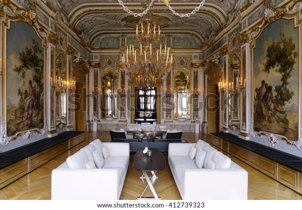 VENICE, ITALY -10 MARCH 2016- The Aman Canal Grande is a luxury hotel located in the Palazzo Papadopoli built in 1560.