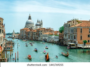 Venice, Italy - 11.06.2019: Vogalonga 2019 regatta on Grand Canal