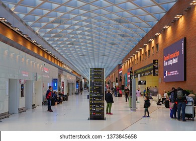VENICE, ITALY -13 APR 2019- Interior view of the Venice Marco Polo Airport (VCE), located near Mestre, connected to Venice by bus, rail, and vaporetto water taxis.