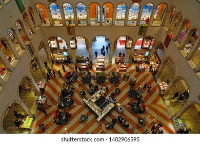 VENICE, ITALY -13 APR 2019- Indoor view of the Fondaco dei Tedeschi, a historic palazzo on the Grand Canal near the Ponte di Rialto bridge in Venice, now converted into a luxury department store.