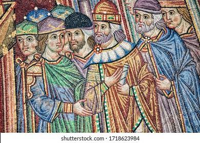 venice, italy - 13.03.2019 - historical mosaic on the exterior facade of the basilica di san marco