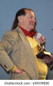 Venice, Italy. 13th May, 2017. Franz Erhard Walther win the golden lion for the best artist during the awards ceremony during the 57th Biennale Arte in Venice, Italy
