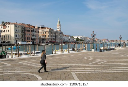 VENICE, ITALY - 16 MAY 2018: View Of Canal Grande as seen from Punta della Dogana in the Dorsoduro sestiere of the city of Venice