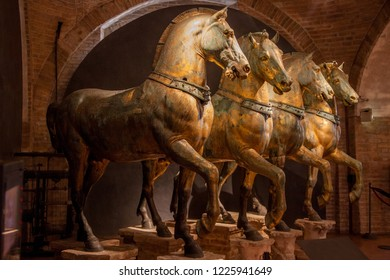 Venice, Italy - 20 February 2013: The horses of Saint Mark (Cavalli di San Marco) in the Baslilica of Saint Mark (San Marco) in Venice