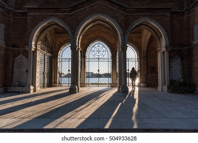 VENICE, ITALY - 21 OCTOBER 2016 - A visit in the monumental cemetery located in a island of the Venice lagoon