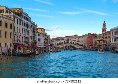 VENICE, ITALY - 21 OCTOBER 2016 - The city on the sea. Here in particular the Rialto Bridge from Grand Canal