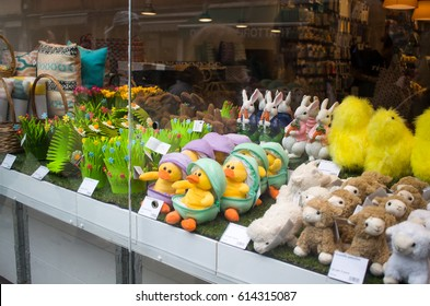 Venice, Italy - 22 March, 2017. Easter shop window decoration.
