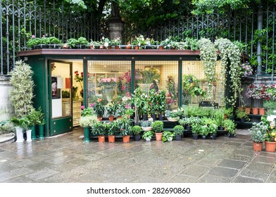 Venice, Italy - 22 May 2105: Plant shop in the back streets of Venice