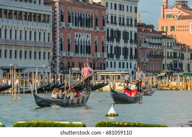 Venice Italy 27 April 2014 Venice Gondola's are traditional Venetian Rowing Boats propelled by a Gondolier through the canals within Venice