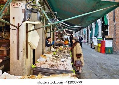 VENICE, ITALY -29 APRIL 2015- Fresh seafood for sale at the Rialto farmers market (Mercato di Rialto) in Venice, near the Rialto Bridge and the Grand Canal.