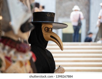 VENICE, ITALY 29TH JULY 2018 - A life-size model of the Plague Doctor / Medico della Peste, a stock character in the Commedia dell'arte outside a shop in Venice.