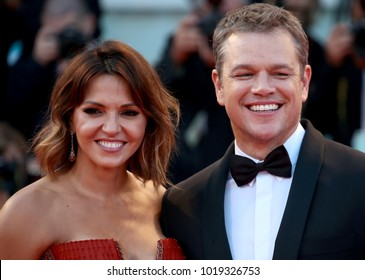 Venice, Italy. 30th August, 2017.  Matt Damon and Luciana Barroso walks the red carpet ahead of the 'Downsizing' screening and Opening Ceremony during the 74th Venice Film Festival at Sala Grande on A