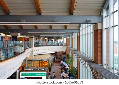 VENICE, ITALY -5 MAY 2018- Interior view of the Venice Marco Polo Airport (VCE), located near Mestre, connected to Venice by bus, rail, and vaporetto water taxis.