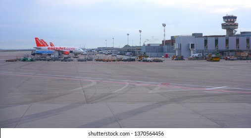 VENICE, ITALY -6 APR 2019- View of airplanes from British low-cost airline Easyjet (U2) at the Venice Marco Polo Airport (VCE), located on the laguna near Mestre.