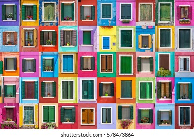 Venice, Italy. Abstract colorful windows on the island of Burano.