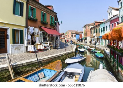 VENICE, ITALY, APR 10, 2007: beautiful colored houses of the old fishermans  city Burano in the laguna of Venice, Italy. Venice is the most visited touristic spot in Italy.