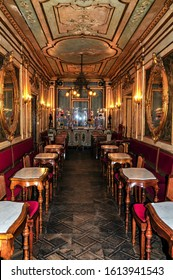 Venice, Italy – Apr 11, 2017: Cafe Florian on the Piazza San Marco or St Mark`s Square in Venice. It is an oldest cafe in Europe and famous landmark of Venice