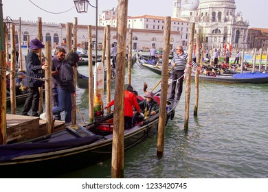 VENICE, ITALY - APR 16, 2018 - Gondola with tourists on the Grand Canal Venice, Italy