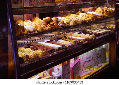 VENICE, ITALY - APR 16,2018 - Breakfast pastries in a bakery window, Venice, Italy