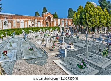 VENICE, ITALY, APR 4, 2007: gravestones at cemetery island of San Michele in Venice, Italy. San Michele is sice centuries the most important cemetery of Venice.