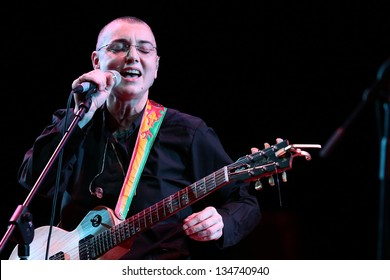 """VENICE, ITALY - APRIL 02: Irish singer Sinead O'Connor during the first concert of  """"THE CRAZY BALDHEAD TOUR"""" at the Teatro la Fenice and for the first time in Venice. April 02, 2013 in Venice, Italy"""