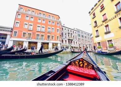 Venice, Italy - APRIL 10, 2019: Traditional Venice Gondola Rides on Canals