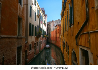 VENICE, ITALY - APRIL 11, 2016: A backstreet view of Venice, capital of the Veneto region and famed throughout the world for its beautifully preserved Byzantine architecture.