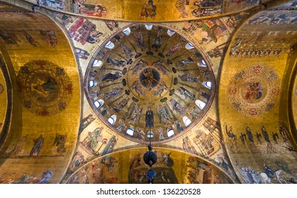 VENICE, ITALY - APRIL 2: Image with interior of Basilica San Marco, taken on April 2, 2013, in Italy. Interior byzantine style painted dome of Basilica di San Marco, Venice