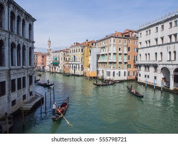 Venice, Italy - April 2013 : View of grand canal with many gondola floating in Venice, Italy.