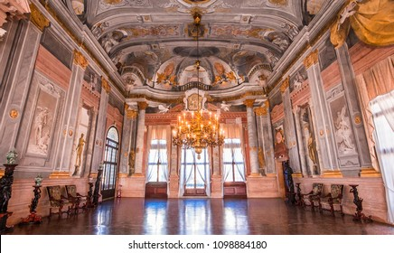 VENICE, ITALY, APRIL 22, 2018 : interiors decor, ceilings and frescoes of Ca'Rezzonico palace, april 22, 2018,  in Venice, italy