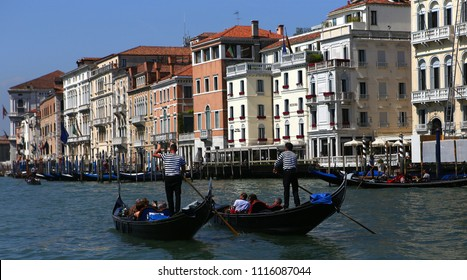 VENICE, ITALY, APRIL 22, 2018 : gondola on the grand canal, april 22, 2018,  in Venice, italy