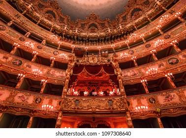 VENICE, ITALY , APRIL 24, 2018 : interiors and architectural details of Teatro la Fenice, Venice opera house, april 24, 2018,  in  Venice, Italy.
