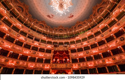 VENICE, ITALY , APRIL 24, 2018 : interiors and architectural details of Teatro la Fenice, Venice opera house, april 24, 2018,  in  Venice, Italy.