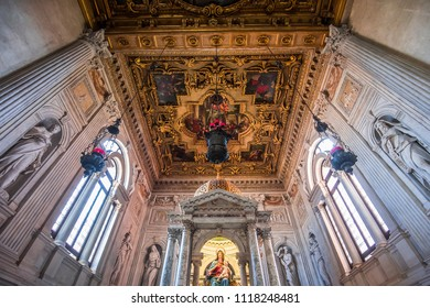 VENICE, ITALY, APRIL 25, 2018 : interiors and architectural details of San Giovanni e Paoli church, april 25, 2018,  in Venice, italy