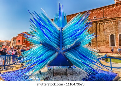 "VENICE, ITALY - APRIL 30: Blue murano glass sculpture named ""Comet Glass Star"" by S. Cenedese, iconic landmark located on Campo San Stefano square, island of Murano, Venice, Italy on April 30, 2018"