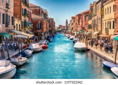 VENICE, ITALY - APRIL 30: View over the scenic canal Rio dei Vetrai on the island of Murano, Venice, Italy, April 30, 2018. The island is a popular attraction for tourists, famous for its glass making