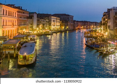 VENICE, ITALY - APRIL 7, 2007: view to Canale Grande by night in Venice, Italy. Canale Grande is 3,800 m long, 30–90 m wide, with an average depth of five meters.